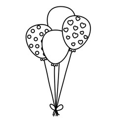 Balloon with knot in black and white vector