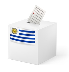 Ballot box with voting paper Uruguay vector image