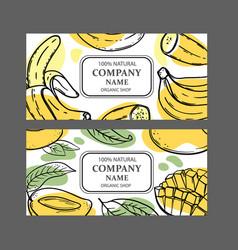 banana mango labels design sketch vector image