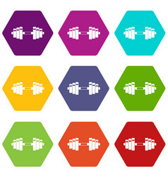 barbell icon set color hexahedron vector image