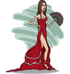 Beautiful woman in red dress cartoon vector