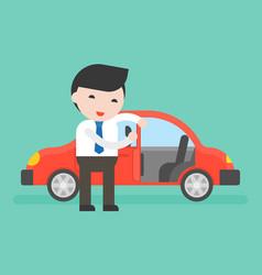 Businessman or salesman open cars door for vector