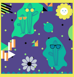cacti in sunglasses seamless pattern vector image