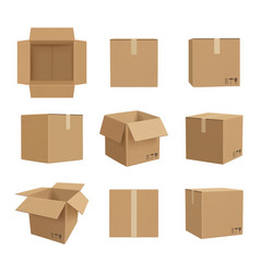 cardboard boxes deliver craft packages front and vector image