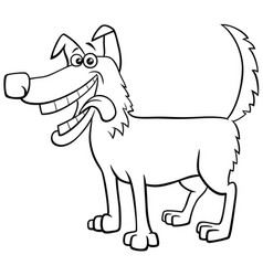 cartoon happy dog character coloring book page vector image