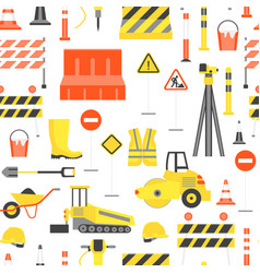 cartoon road construction background pattern on a vector image