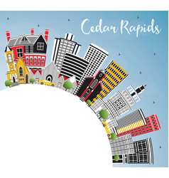 cedar rapids iowa city skyline with color vector image