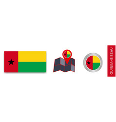 Collection guinea-bissau national flags vector