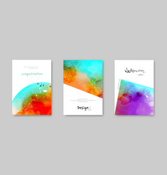 Colorful watercolor splash hand-painted card set vector