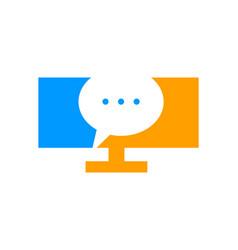 computer testimonial icon logo design element vector image
