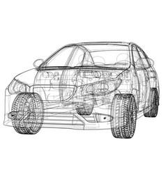 Concept car rendering of 3d vector