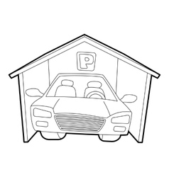 Covered car parking icon isometric 3d style vector