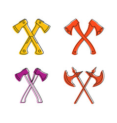 crosses axe icon set color outline style vector image