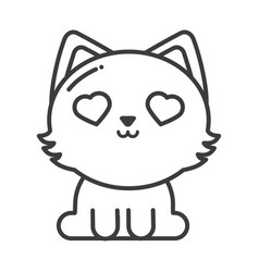 Cute cat on white background line style icon vector