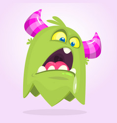 cute small angry cartoon monster vector image