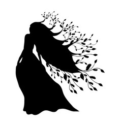 Dryad nymph forest silhouette ancient mythology vector