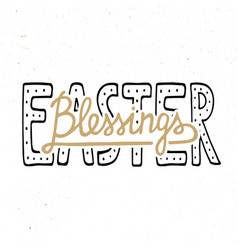 easter blessings typography design elements for vector image