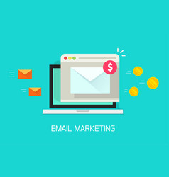 Email marketing campaign flat laptop vector