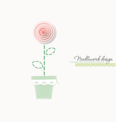Embroidery rose cute design for greeting cards vector