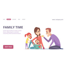 family time cute cartoon parents and children vector image