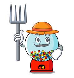 Farmer gumball machine character cartoon vector