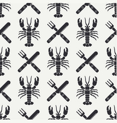 Flat line seamless pattern lobster cutlery vector