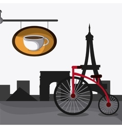 France design coffee shop eiffel tower landmark vector