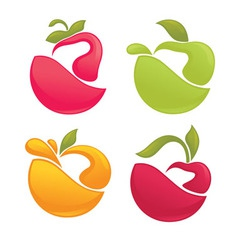 Fruit stickers vector