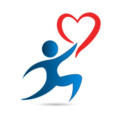 gift giving people charity love heart logo vector image