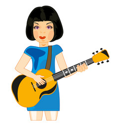 Girl plays on guitar vector