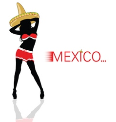 girl with sombrero in red silhouette vector image