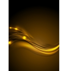 Golden smooth glowing luminous waves background vector image