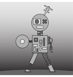 Gray cartoon robot vector