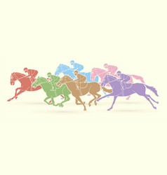 Group jockeys riding horse sport competition vector