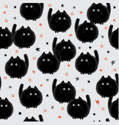halloween cats seamless pattern on gray vector image