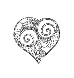 Hand drawing heart with snail couple in love vector