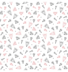 Hand drawn seamless pattern with cute diamonds vector image