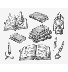 Hand-drawn vintage books sketch old school vector