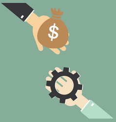 hand of businessman to change the gear to money vector image