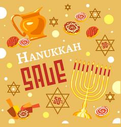 hanukkah sale concept background cartoon style vector image