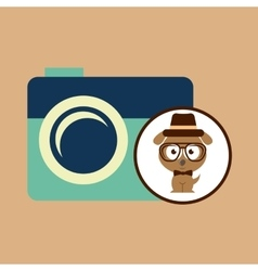 Hipster dog symbol camera design vintage vector