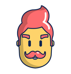 Hipster man face icon cartoon style vector