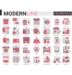 household complex red black flat line vector image