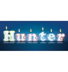 HUNTER written with burning candles vector image