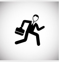 hurrying businessman runs on white background vector image