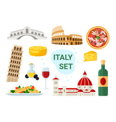 italy tourism set with famous italian food vector image