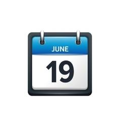 June 19 calendar icon flat vector