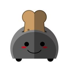 Kawaii bread slice icon image vector
