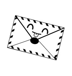 Kawaii mail envelope postal stamp letter symbol vector
