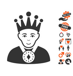 King icon with lovely bonus vector